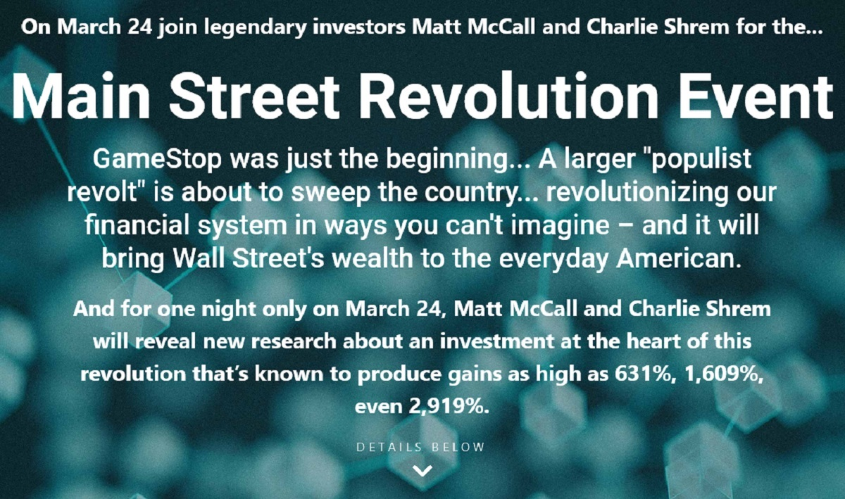 The Main Street Revolution Review: Is Matt McCall and Charlie Shrem Event Legit?